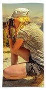 Photographer On Sentinel Dome Beach Towel