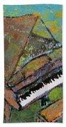 Piano Aqua Wall Beach Towel
