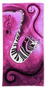 Piano Keys In A Saxophone Hot Pink - Music In Motion Beach Towel