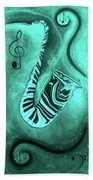 Piano Keys In A  Saxophone Teal Music In Motion Beach Towel