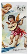 Piano Trade Card, C1880 Beach Towel