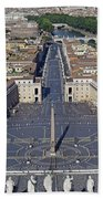 Piazza San Pietro And Colonnaded Square As Seen From The Dome Of Saint Peter's Basilica - Rome, Ital Beach Towel