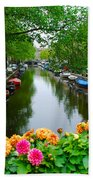 Picturesque View Amsterdam Holland Canal Flowers Beach Towel