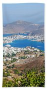 Picturesque View Of Skala Greece On Patmos Island Beach Towel