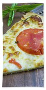 Piece Of Margarita Pizza With Fresh Ingredients Beach Towel