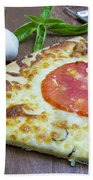 Piece Of Margarita Pizza With Ingredients Beach Towel