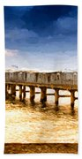 Pier At Sunset Oil Painting Photograph Beach Towel