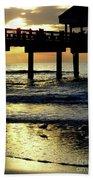 Pier Reflections Beach Towel