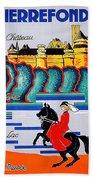 Pierrefonds Castle, Woman On Horse, France Beach Towel