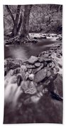 Pigeon Forge River Great Smoky Mountains Bw Beach Towel