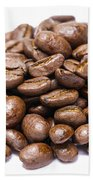 Pile Of Coffee Beans Isolated On White Beach Towel