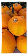 Pile Of Pumpkins For Sale Expressionist Effect Beach Towel