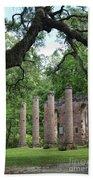 Pillars Of Sheldon Church Ruins Beach Towel