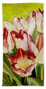 Pink Tulips Beach Towel