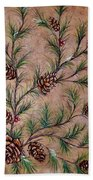 Pine Cones And Spruce Branches Beach Towel