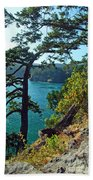 Pine Over The Bay Beach Towel