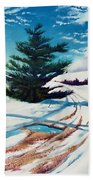 Pine Tree Along The Country Road Beach Towel