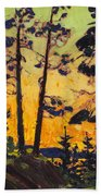 Pine Trees At Sunset Beach Towel