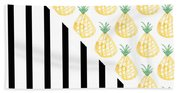 Pineapples And Stripes Beach Towel