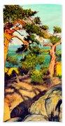 Pines On The Rocks Beach Towel