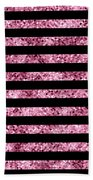 Pink And Black Glitter Sequin Stripes Beach Towel