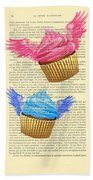 Pink And Blue Cupcakes Vintage Dictionary Art Beach Towel