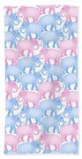 Pink And Blue Elephant Pattern Beach Towel
