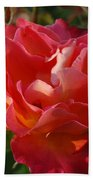 Pink And Gold Rose Beach Towel