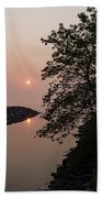 Pink And Green Summer - Soft Misty Sunrise On The Lake Beach Towel