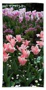 Pink And Mauve Tulips Beach Towel
