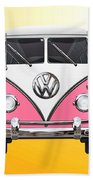 Pink And White Volkswagen T 1 Samba Bus On Yellow Beach Towel by Serge Averbukh