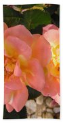 Pink And Yellow Roses Beach Towel