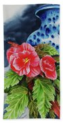 Pink Begonias Beach Towel
