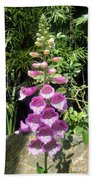Pink Bell Flowers. Foxglove 03 Beach Towel