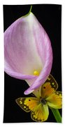 Pink Calla Lily With Yellow Butterfly Beach Towel