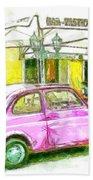 Pink Car Beach Sheet