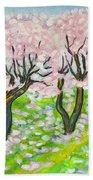 Pink Cherry Garden In Blossom Beach Towel