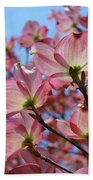 Pink Dogwood Flowers Landscape 11 Blue Sky Botanical Artwork Baslee Troutman Beach Towel