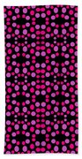 Pink Dots Pattern On Black Beach Towel
