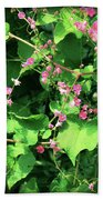 Pink Flowering Vine2 Beach Towel