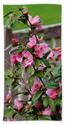 Pink Flowers By The Bench Beach Towel