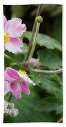 Pink Flowers Over Green Beach Sheet