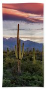 Pink Four Peaks Sunset  Beach Towel