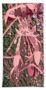 Pink Fuschia Against Tree Bark Beach Towel