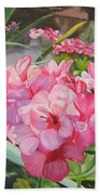Pink Geraniums Beach Towel by Lea Novak