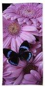 Pink Gerbera Daises And Butterfly Beach Towel