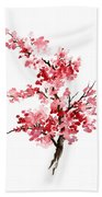 Cherry Blossom, Pink Gifts For Her, Sakura Giclee Fine Art Print, Flower Watercolor Painting Beach Towel