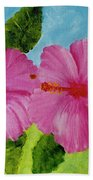 Pink Hawaiian Hibiscus Flower #23 Beach Towel
