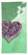 Pink Heart On Frosted Glass Beach Towel