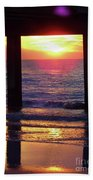 Pink Heart Sun Flare Clearwater Sunset Beach Towel